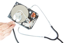 Diagnosis of a stethoscope hard drive. On a white background.